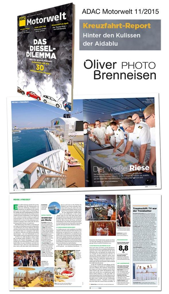 Adac Motorwelt: Kreuzfahrt-Report 11/2015 Photo: Oliver Brenneisen